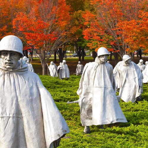 The bright colors of autumn emphasize the dramatic expression of The Korean War Veterans Memorial / Photo credits: avmedved / 2014 / Source: depositphotos.com, ©2019