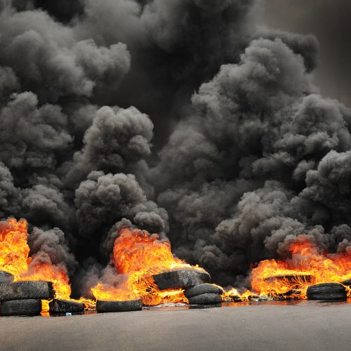 Burning tires during a protest causing poisoning smoke / Photo credits: diplomedi / 2014 / Source: depositphotos.com, ©2019