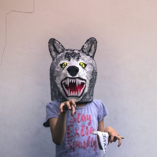 Portrait of kid with a carton wolf mask / Photo credits: bernardojbp / 2017 / Source: depositphotos.com, ©2019