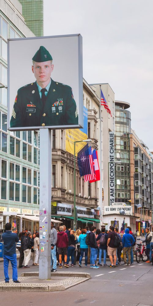 Checkpoint Charlie in Berlin, Germany. The name was given by the Western Allies to the best-known Berlin Wall crossing point between East and West Berlin during the Cold War / Photo credits: AndreyKr / 2017 / Source: depositphotos.com, ©2019