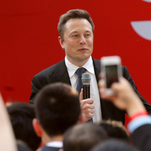 Tesla CEO Elon Musk is pictured during a delivery ceremony at the sales center of Tesla in Jinqiao, Shanghai, China / Photo credits: Imaginechina-Editorial / 2014 / Source: depositphotos.com, ©2019