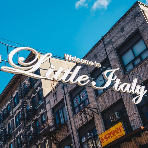 Welcome to Little Italy sign in Lower Manhattan. Little Italy is an Italian famous community in Manhattan / Photo credits: bluebe / 2017 / Source: depositphotos.com, ©2019