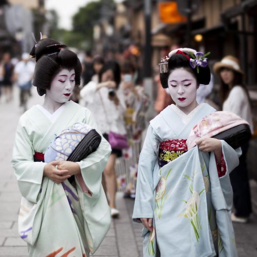 Maiko in kimono performs in Gion district in Kyoto, Japan. Maiko is a geisha apprentice, left from the medieval times / Photo credits: lusia83 / 2016 / Source: depositphotos.com, ©2019